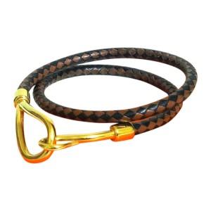Hermes Goldtone and Leather Brown Black Double Bracelet