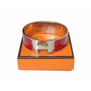 Hermes Red Enamel & Silver Tone Bangle Bracelet
