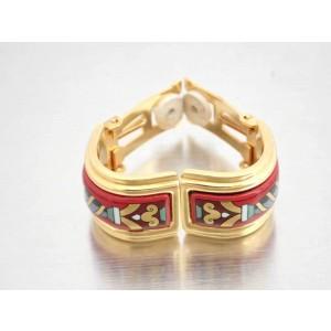 Hermes Gold tone Multicolor Cloisonne Earrings