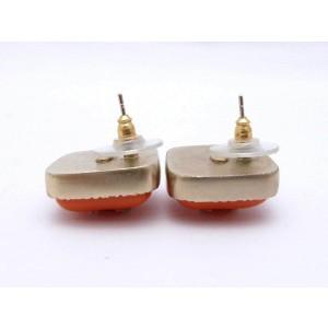 Chanel CC Logo Pierce Orange Red Goldtone Enamel Earrings