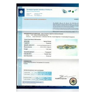 14K Yellow & White Gold Tanzanite, Sapphire and Diamond Bracelet