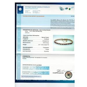 14K Yellow Gold & Emerald Cut Amethyst Channel Bracelet