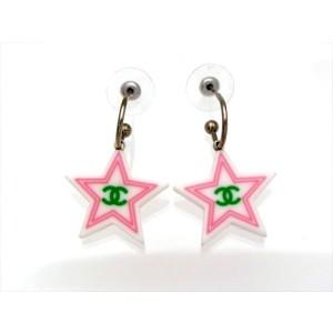 Chanel CC Logo Silver Tone Metal Star Dangle Stud Earrings