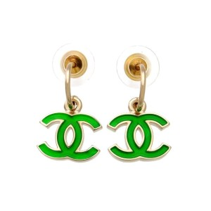 Chanel CC Logo Gold Tone Metal Green Dangle Stud Earrings