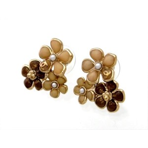 Chanel Gold Tone Metal & Pearl Flowers Stud Earrings