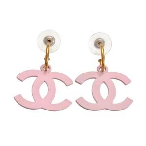 Chanel Gold Tone Metal White Pink CC Logo Dangle Stud Earrings