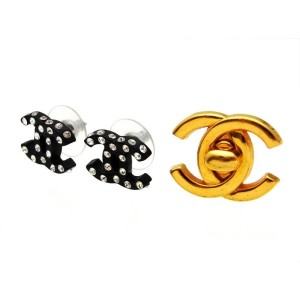 Chanel CC Logo Rhinestone Black Stud Earrings