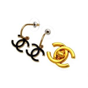 Chanel Gold Tone Metal Black CC Logo Dangle Stud Earrings