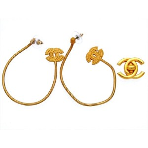 Chanel CC Logo Gold Tone Metal Dangle Stud Earrings