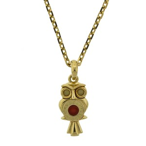 18k Yellow Gold Bvlgari Owl Necklace