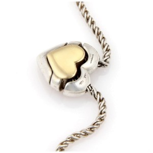 Tiffany Gold and Silver Slider Heart Puzzle Pendant with Rope Chain