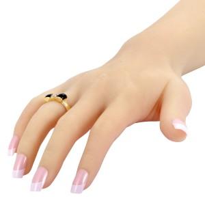 Van Cleef & Arpels 18K Yellow Gold Diamond & Onyx Bow Ring Size 6.0
