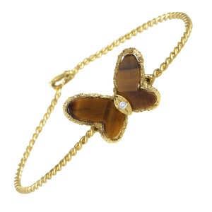 Van Cleef & Arpels 18K Yellow Gold Diamond and Tiger's Eye Butterfly Bangle Bracelet