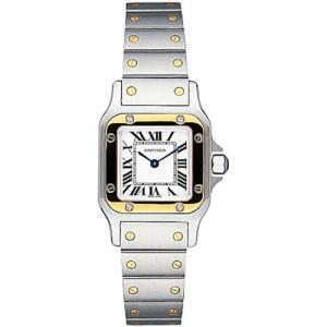 Cartier Santos De Cartier Galbée W20012C4 Stainless Steel and 18k Gold Womens Watch