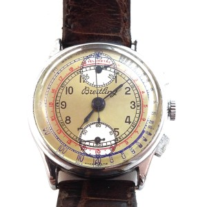 Vintage Breitling Chronograph Three Color Dial Steel