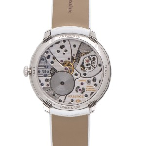 Faberge Platinum Mother of Pearl Diamond Dial and Bezel 38mm Watch