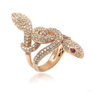 18K Rose Gold Diamond & Ruby Double Headed Snake Ring