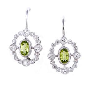 18K White Gold Diamond & Peridot Dangle Earrings