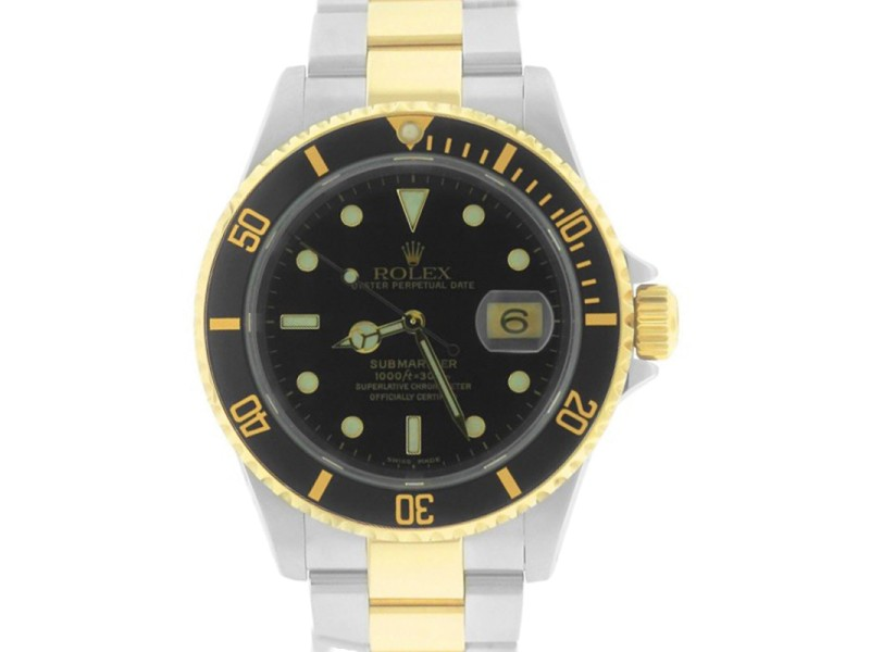 Rolex submariner 16613 two tone stainless black date dive - 40mm dive watch ...