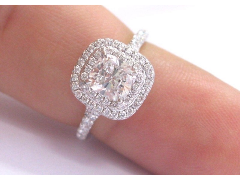 Tiffany Co Platinum Cushion Cut Diamond Soleste Engagement Ring