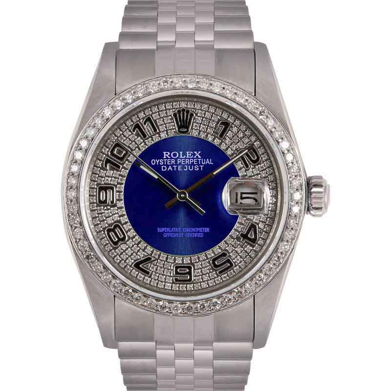 "Image of ""Rolex Datejust Stainless Steel Blue Diamond Bulls Eye Tuxedo Dial &"""