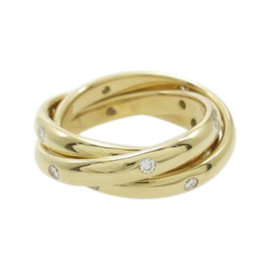 Cartier 18K Yellow Gold with Diamond Constellation Ring Size 4