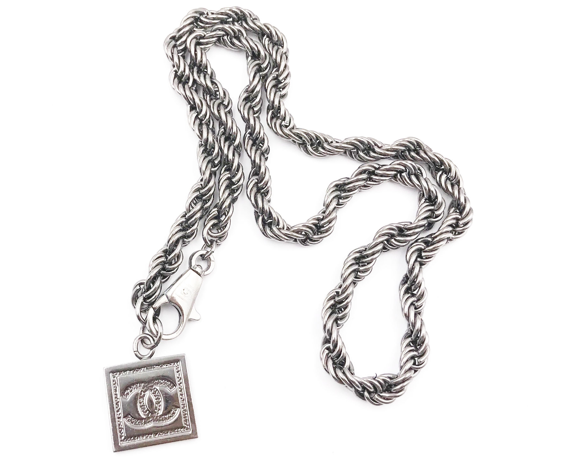 "Image of ""Chanel Ruthenium CC Square Pendant Twisted Chain Necklace"""