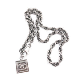 Chanel Ruthenium CC Square Pendant Twisted Chain Necklace