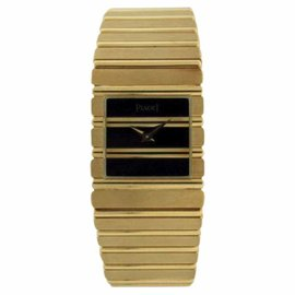 Piaget Polo 18K Yellow Gold Black Onyx Dial Unisex Watch 25mm