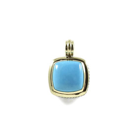 David Yurman Sterling Silver 18K Yellow Gold 20mm Turquoise Albion Enhancer Pendant