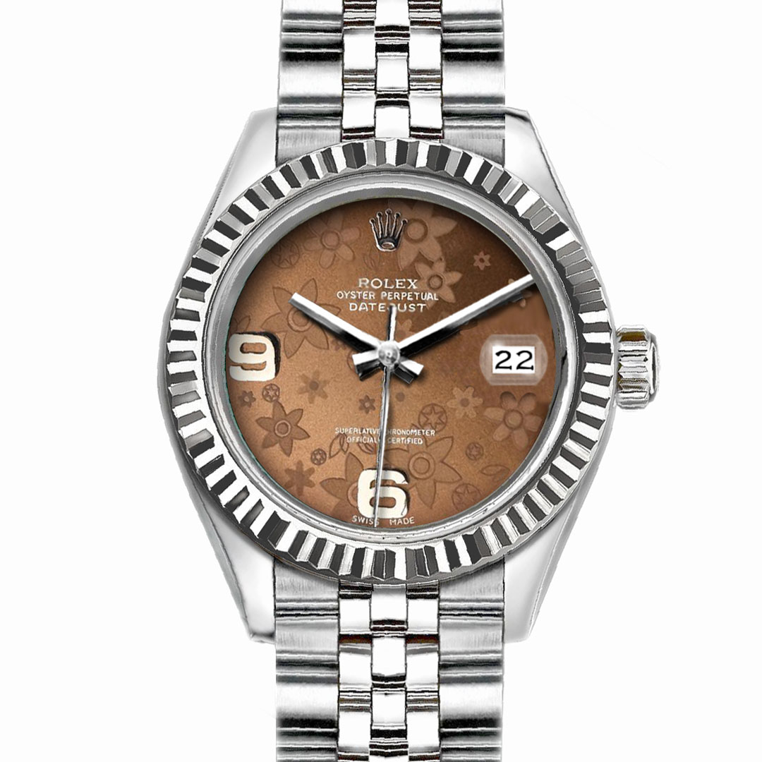 "Image of ""Rolex Datejust Stainless Steel with Brown Flower Dial 36mm Unisex"""