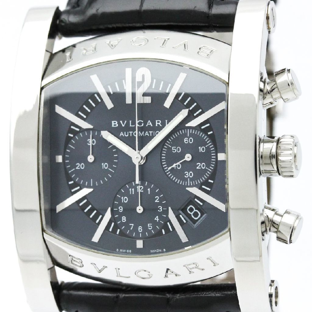 """Image of """"Bulgari Assioma Aa48Sch Stainless Steel And Leather Automatic 48mm"""""""