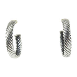 David Yurman Sterling Silver & 18K Yellow Gold Sculpted Cable Hoop Earrings
