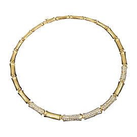 Cartier 18K Yellow Gold Bamboo Diamonds Pendant Necklace