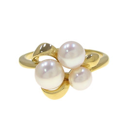 Mikimoto 18K Yellow Gold Pearl Ring Size 5.75
