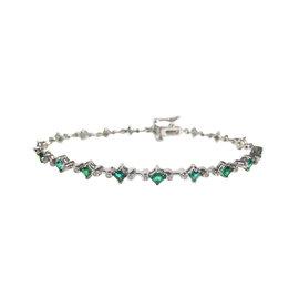 14K White Gold 3ct Emerald & Diamond Bracelet