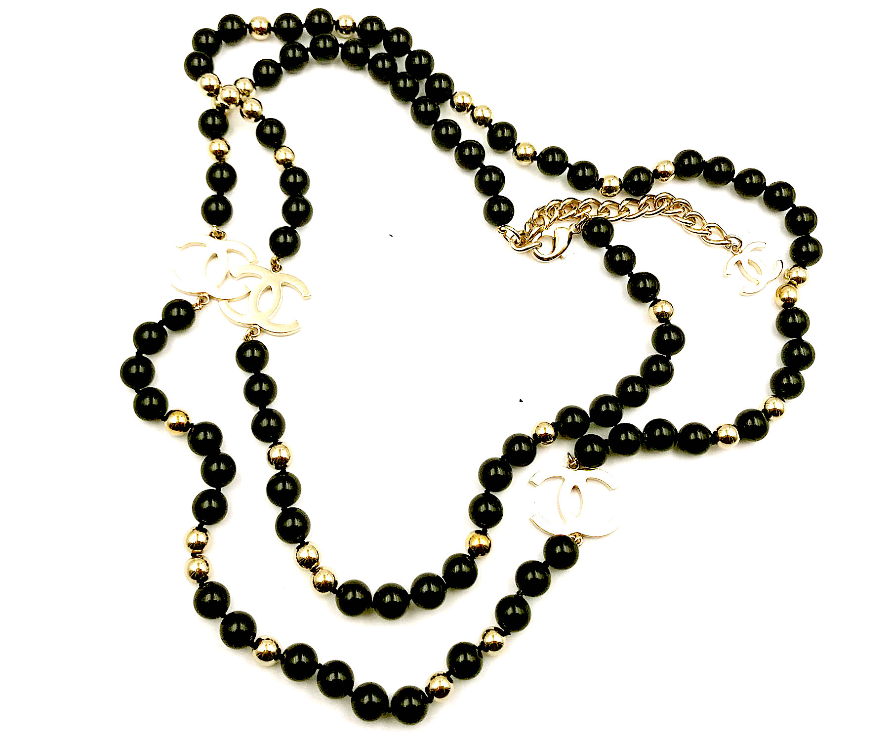"Image of ""Chanel Gold CC Black Glass Stone Necklace"""
