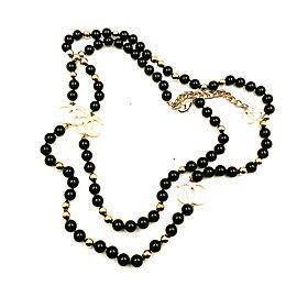 Chanel Gold CC Black Glass Stone Necklace