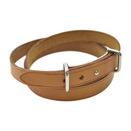 Hermes Silver Tone Hardware and Brown Leather Bracelet