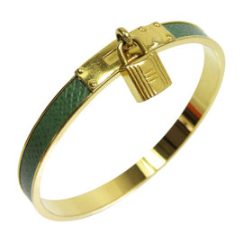 Hermes Leather & Gold Tone Metal Kelly Bangle