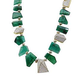 Pamela Huizenga 18K Yellow Gold Emerald Nugget Bead and 10.58ct. Diamond Necklace