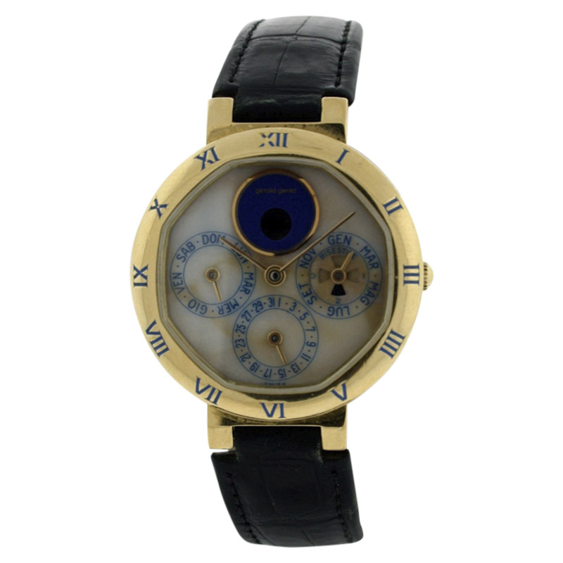 "Image of ""Gerald Genta Perpetual Calendar Moonphase 18K Yellow Gold & Leather"""