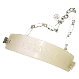 Chanel Iridescent Silver-Tone Pink Band Chain Bracelet