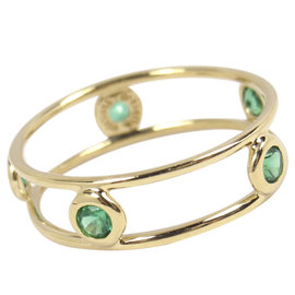 Tiffany & Co. Peretti 18K Yellow Gold & Emerald By the Yard Double Wire Ring Size 5.5