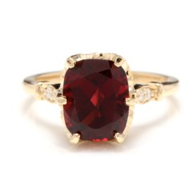 14K Yellow Gold 3.6ct Natural Garnet and 0.08ct Diamond Ring Size 6.5