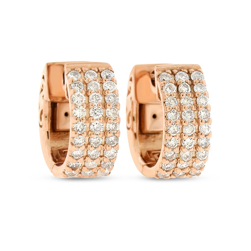 "Image of ""14k Rose Gold 0.64 Ct. Natural Diamond Small Hoop Huggie Triple Row"""