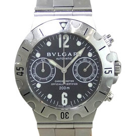 Bulgari Diagono Scuba SCB38S Chronograph Stainless Steel 38mm Mens Watch