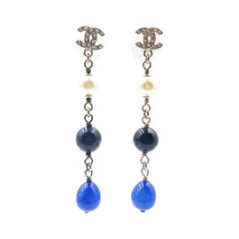 Chanel CC Silver Tone Metal & Blue Beads Piercing Earrings