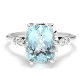 14K White Gold 3ct Natural Aquamarine and 0.08ct Diamond Ring Size 6.5