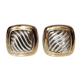 David Yurman Sterling Silver and 18K Yellow Gold Carved Cable Earrings